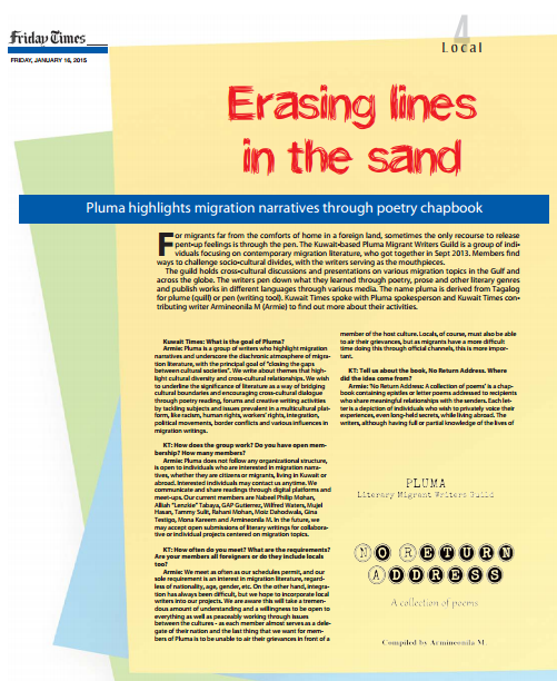 Friday Times-Erasing lines in the sand-Pluma