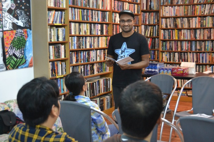 "Nabeel Philip Mohan reading ""Dear Parents,"" ""Sand and Sea,"" and ""Rare Occurrences"".  (Migrant Writes, Q8 Books, March 14)"