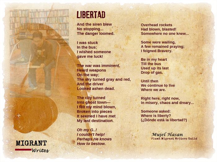 """""""Libertad"""" by Mujel Hasan. Migrant Writes, Q8 Books, Mar. 14."""