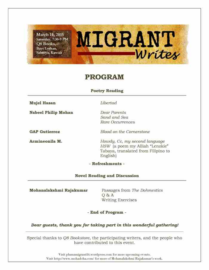 Migrant Writes Event Program