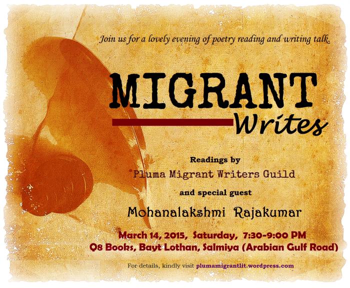 Migrant Writes: Poetry reading and writing talk-Pluma-Mohanalakshmi Rajakumar