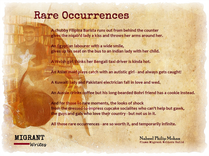 """""""Rare Occurrences"""" by Nabeel Philip Mohan. Migrant Writes, Q8 Books, Mar. 14."""